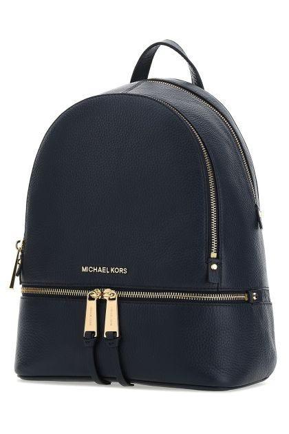 Blue navy Rhea medium leather backpack