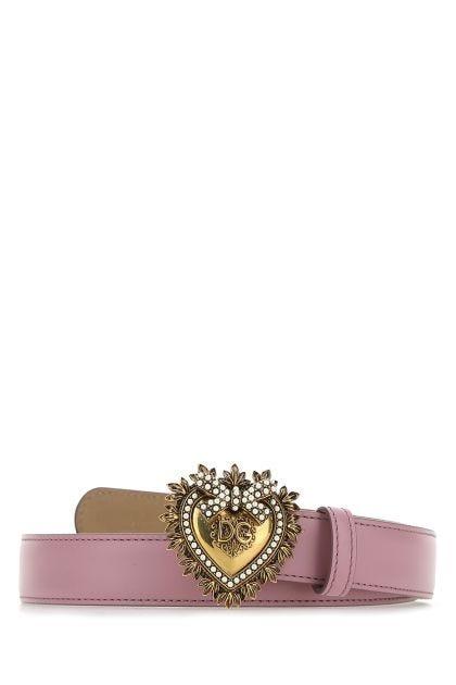 Dark pink leather belt