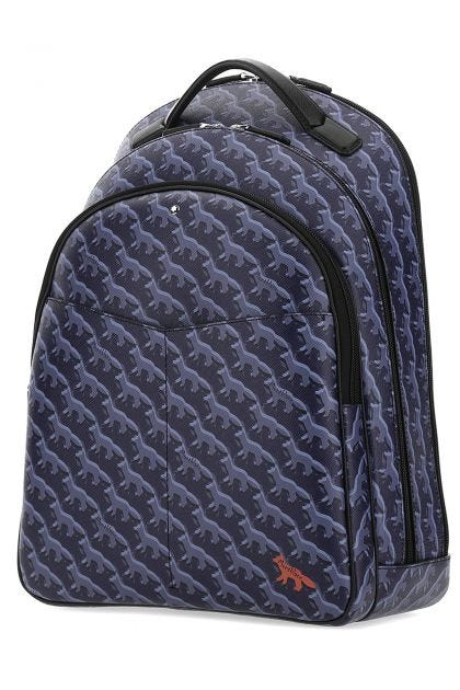 Printed leather backpack