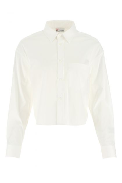 White stretch cotton blend shirt