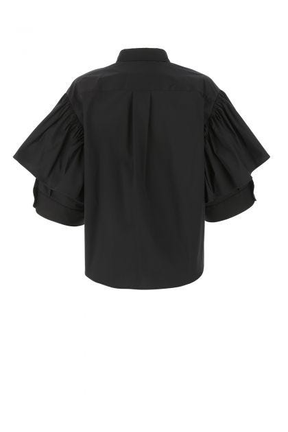 Black stretch cotton blend oversize shirt
