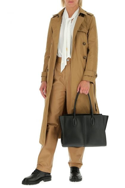Camel nappa leather pant