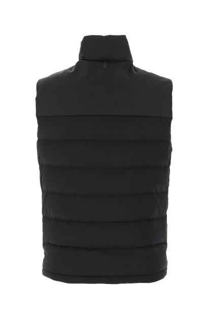Black nylon stretch down jacket