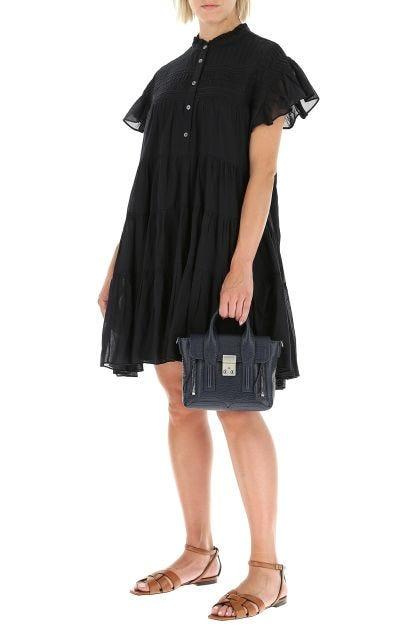 Navy blue leather mini Pashli Satchel handbag