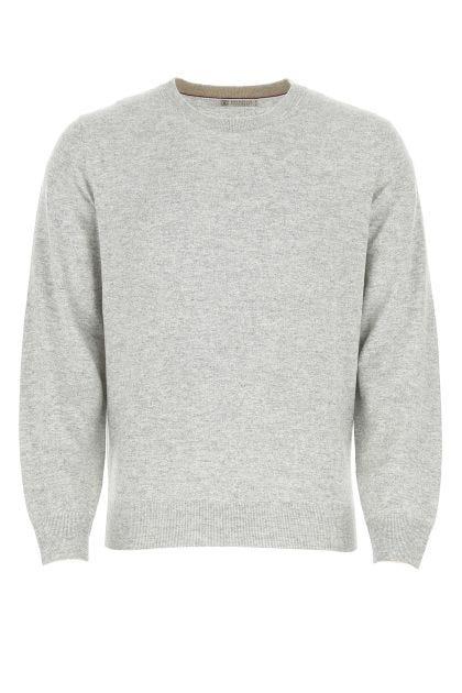 Melange grey cashmere sweater