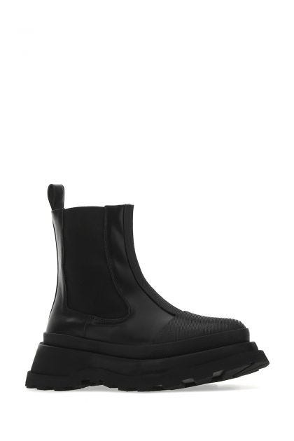 Black leather Boston ankle boot