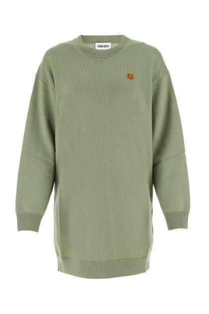 Sage green wool oversize sweater dress