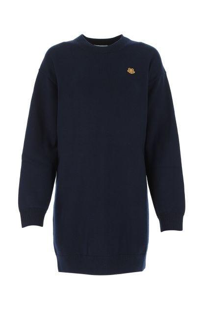 Midnight blue wool sweater dress
