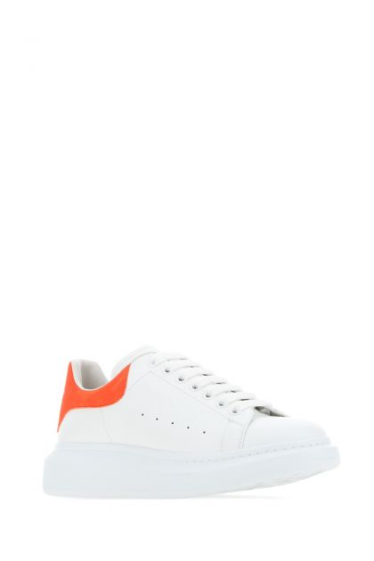 White leather Larry sneakers with orange suede heel