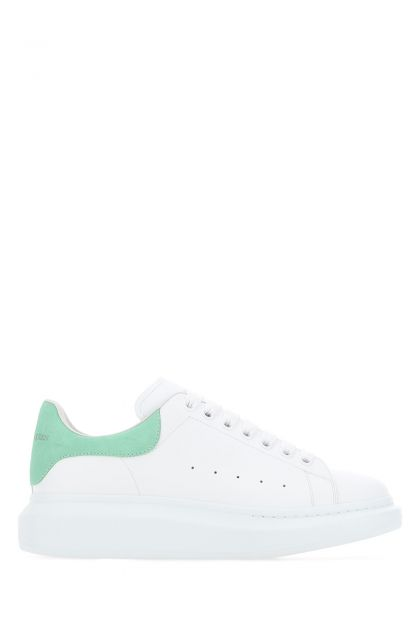 White leather Larry sneakers with sea green suede heel