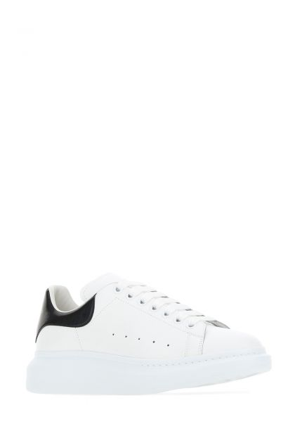White leather sneakers with holographic leather heel
