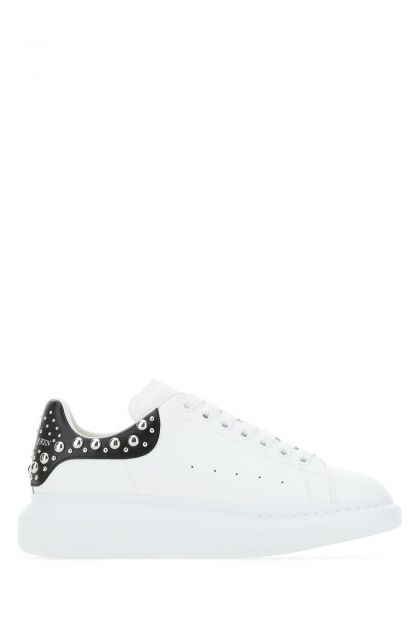 White leather Larry sneakers with black leather heel