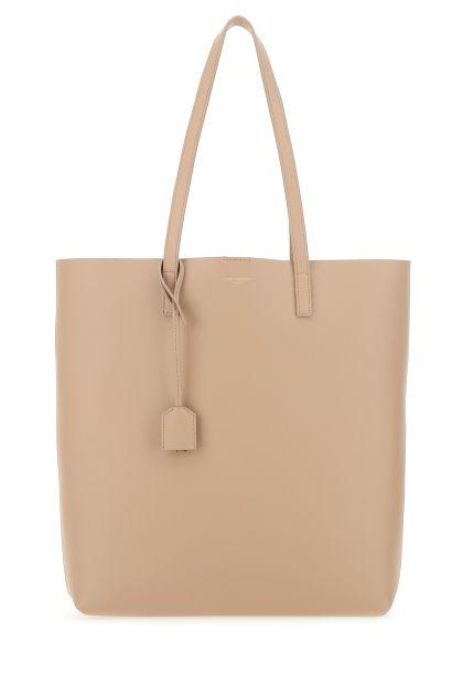 Skin pink leather shopping bag