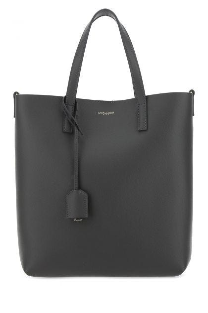 Dark grey toy leather shopping bag