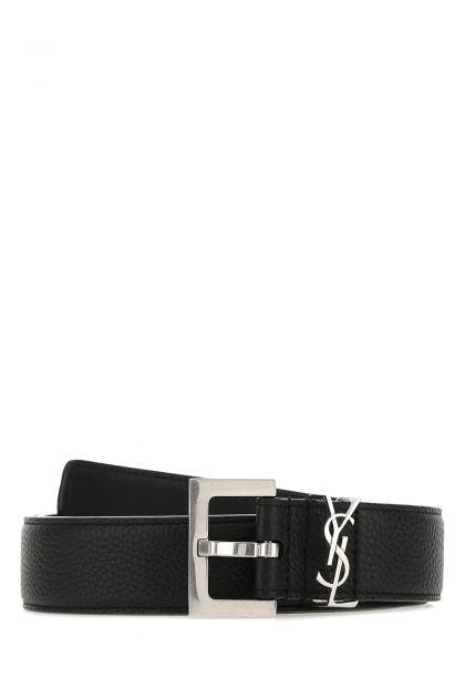 Black leather Monogram belt