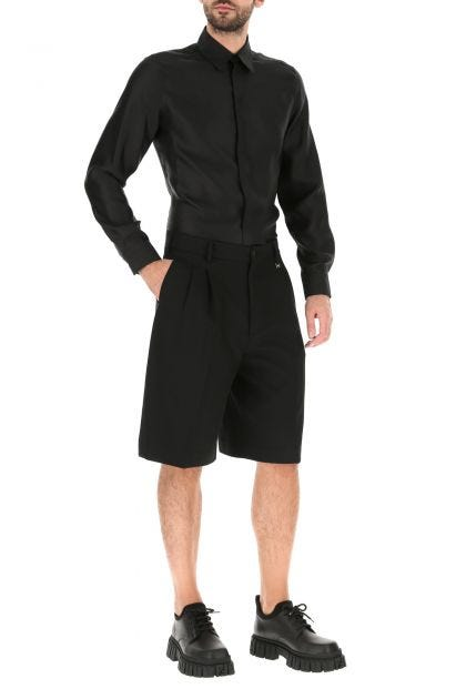 Black wool blend bermuda shorts