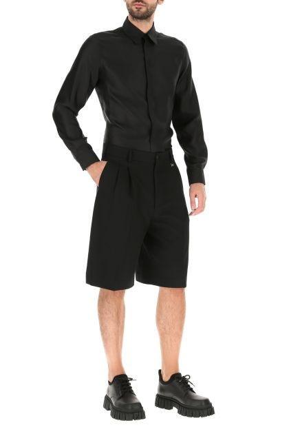 Black silk shirt