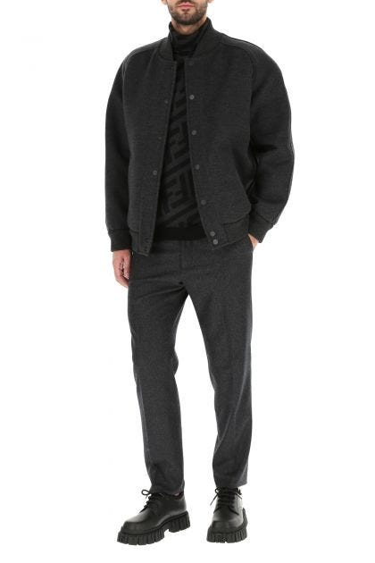 Charcoal felt bomber jacket