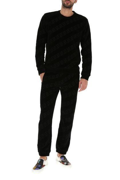 Black terry fabric sweatshirt