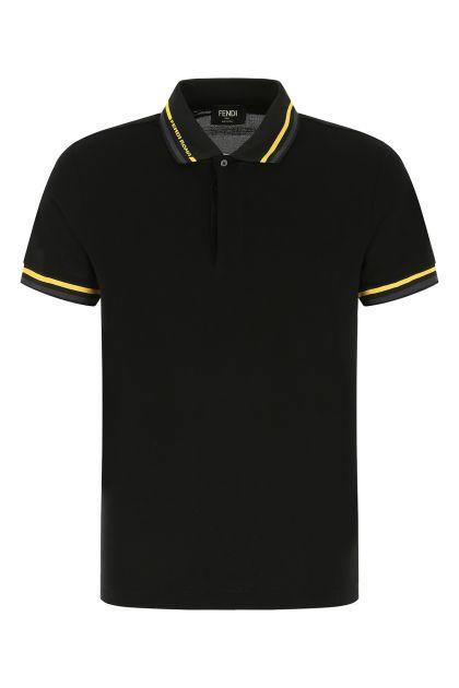 Black piquet polo shirt