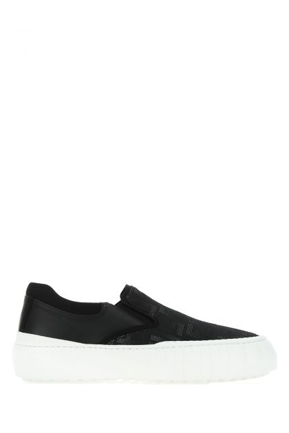 Black fabric and leather slip-on