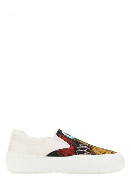 Multicolor leather and nylon slip-on
