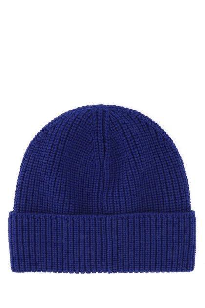 Blue wool beanie hat