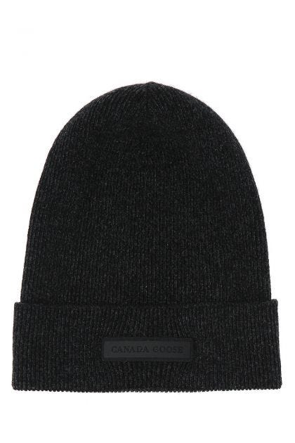 Slate cashmere and wool beanie hat