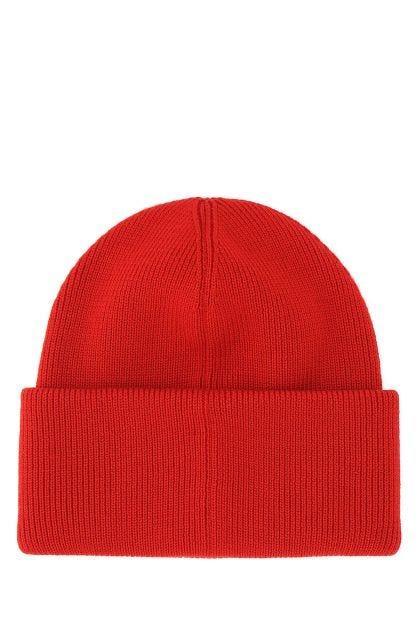 Red wool beanie hat