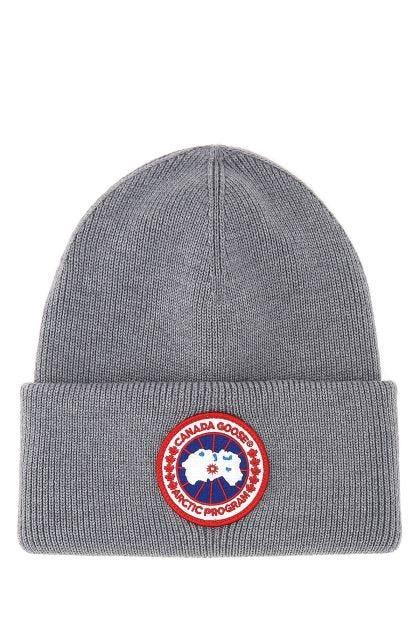 Grey wool beanie hat