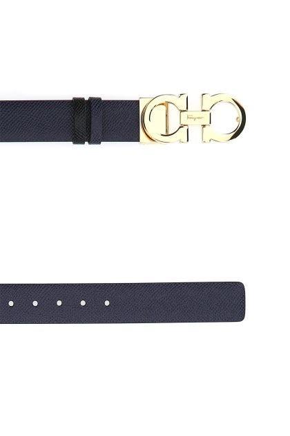 Midnight blue leather reversible belt