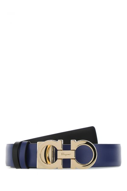 Blue leather reversible belt