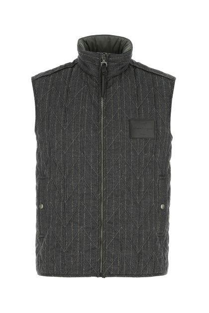 Printed wool sleeveless jacket