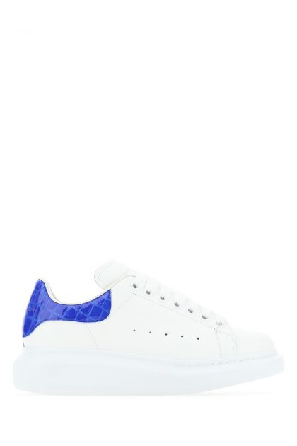 White leather Larry sneakers with blue leather heel
