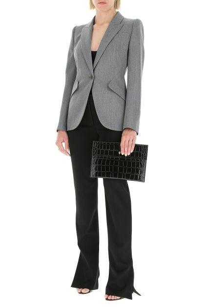Melange grey wool blazer