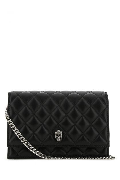 Black leather small Skull crossbody bag
