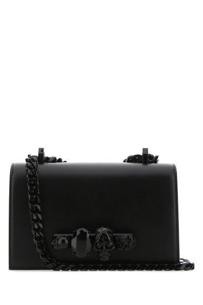 Black leather mini Jeweled Satchel shoulder bag