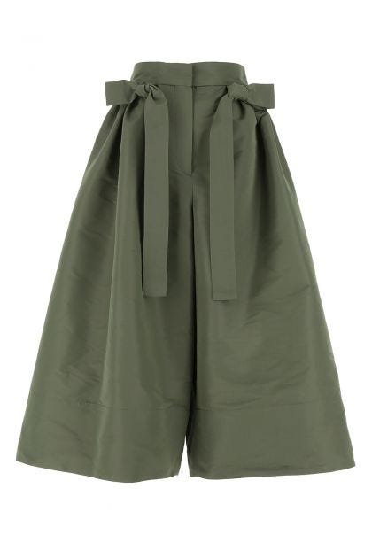 Army green polyester wide-leg pant