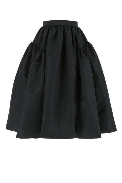 Black polyester midi skirt