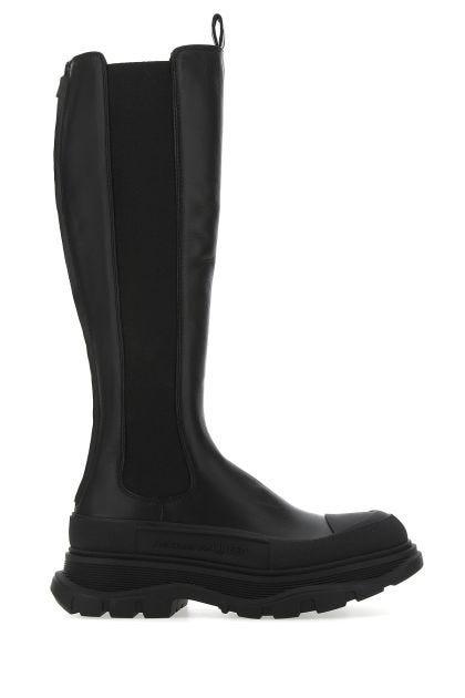 Black leather Tread Slick knee boots