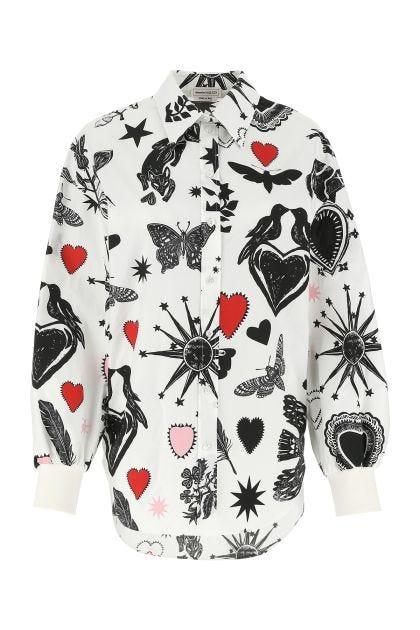 Printed poplin oversize shirt