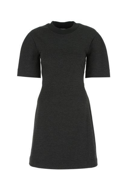 Melange grey viscose stretch sweatshirt dress