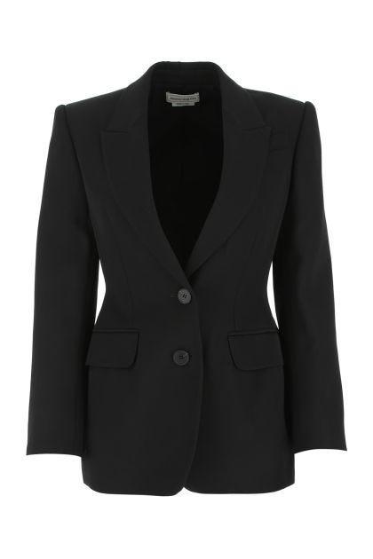 Black wool and polyester blend blazer
