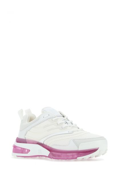 White fabric and leather GIV 1 sneakers