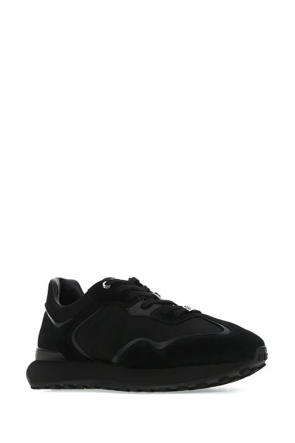 Black leather and fabric sneakers