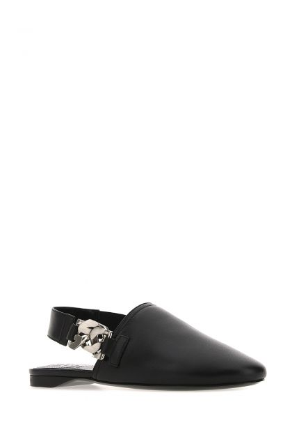 Black nappa leather G Chain ballerinas