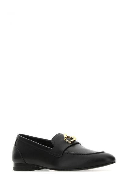 Black leather G Chain loafers