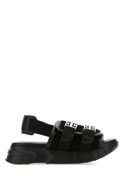 Black leather Marshmallow sandals