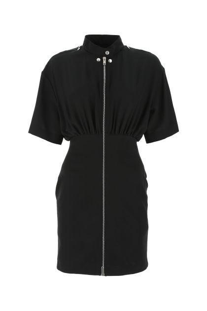 Black silk and stretch viscose blend dress