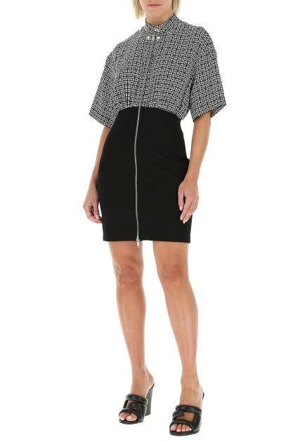 Two-tone silk and stretch viscose blend dress